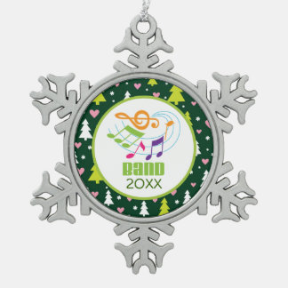 Personalized Marching Band Music Christmas Gift Snowflake Pewter Christmas Ornament