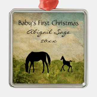 Personalized Mare Foal Horse Baby's 1st Christmas Metal Ornament