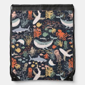 Personalized | Marine Life Drawstring Backpack