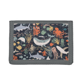 Personalized | Marine Life Tri-fold Wallets