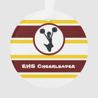 Personalized Maroon and Gold Cheerleader Ornament