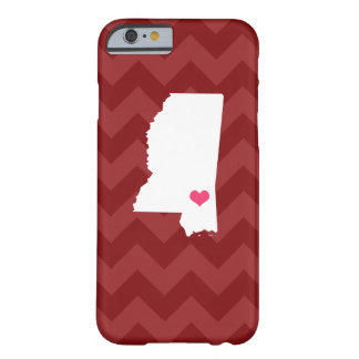 Personalized Maroon Chevron Mississippi Heart Barely There iPhone 6 Case