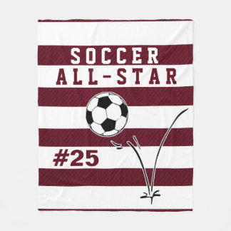 Personalized Maroon & White SOCCER Blanket