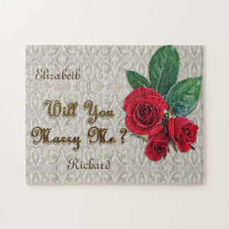 Personalized Marriage Proposal Lace & Red Roses Jigsaw Puzzle