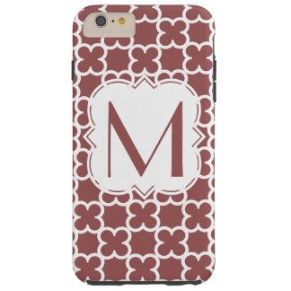 Personalized Marsala Monogram  Quatrefoil Tough iPhone 6 Plus Case