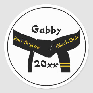 Personalized Martial Arts 2nd Degree Black Belt Classic Round Sticker