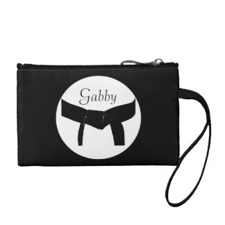 Personalized Martial Arts Black Belt Change Purse