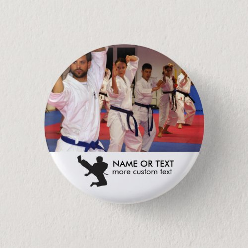 Personalized Martial Arts Karate Photo  Name Pinback Button