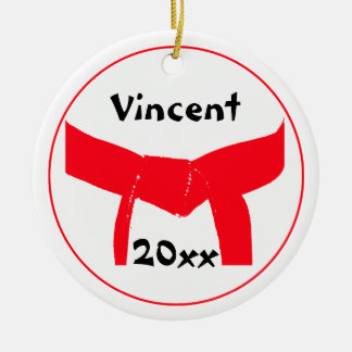 Personalized Martial Arts Red Belt Ornament