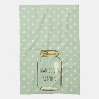 Personalized Mason Jar Kitchen Towel Polka Dots