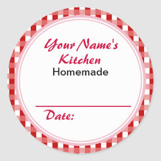 Personalized Mason Jar Lid Labels Red Checks
