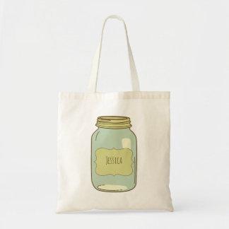 Personalized Mason Jar Tote Bag Green Label