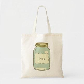 Personalized Mason Jar Tote Bag Ivory Label