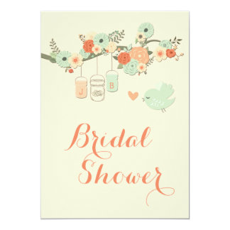 Personalized Mason Jars Floral Tree Bridal Shower Card