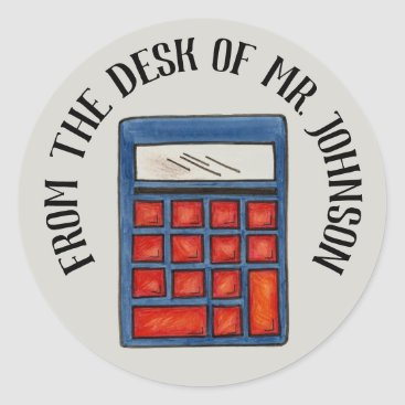 USA Themed Personalized Math Teacher Calculator From the Desk Classic Round Sticker