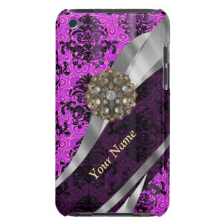 Personalized mauve purple vintage damask barely there iPod cover