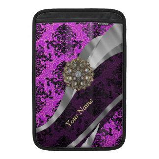 Personalized mauve purple vintage damask MacBook air sleeve