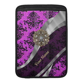 Personalized mauve purple vintage damask sleeves for MacBook air