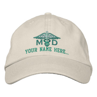 Personalized MD Your Text Medical Caduceus Embroidered Baseball Cap