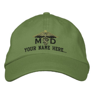 Personalized MD Your Text Medical Caduceus Embroidered Hat