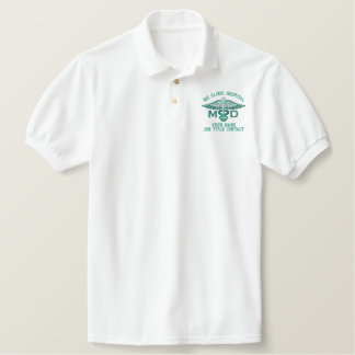 Personalized MD Your Text Medical Caduceus Embroidered Polo Shirt