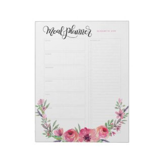 Personalized Meal planner pink flowers Notepad