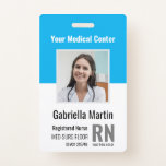 """Personalized Medical Employee Photo ID Badge<br><div class=""""desc"""">Personalize these vertical medical personnel badges with an employee photo and name, along with multiple custom text fields for title or role, unit or floor, title abbreviation, employee ID number, and valid through date. The healthcare facility or hospital name appears at the top in bold white lettering. Customize with a...</div>"""
