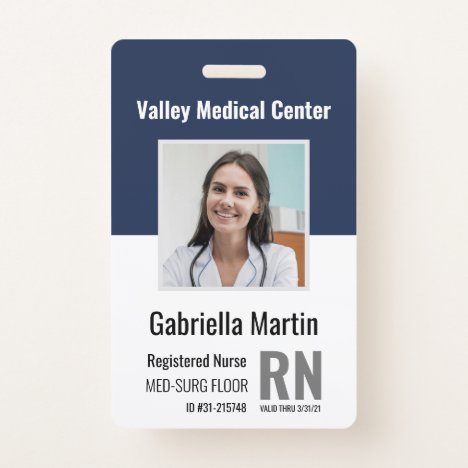 Personalized Medical Employee Photo ID Badge