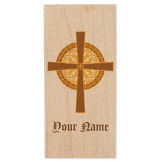 Personalized Medieval Celtic Cross Wood USB Flash Drive