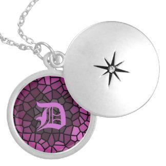 Personalized Medieval Fantasy Purple Mosaic Round Locket Necklace