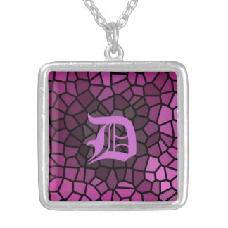 Personalized Medieval Fantasy Purple Stained Glass Custom Necklace