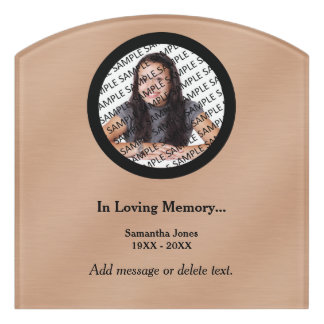 Personalized Memorial Photo Template Bronze Sign
