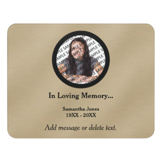 Personalized Memorial Photo Template Gold Sign