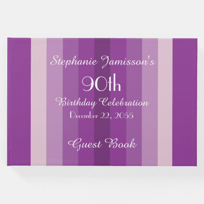 Personalized Memory/Guest Book 90th Birthday Party