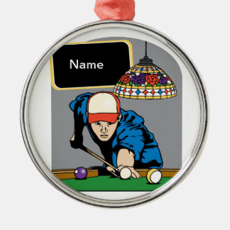 Personalized Mens Billiards Metal Ornament