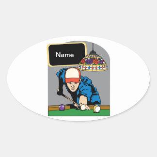 Personalized Mens Billiards Oval Sticker