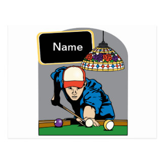 Personalized Mens Billiards Postcard