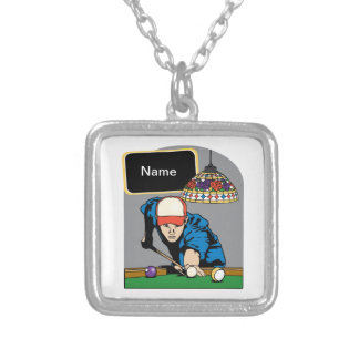 Personalized Mens Billiards Silver Plated Necklace