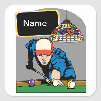 Personalized Mens Billiards Square Sticker