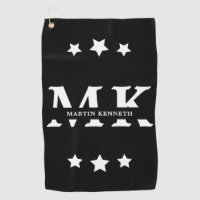 Personalized Men's Black And White Monogram Golf Towel