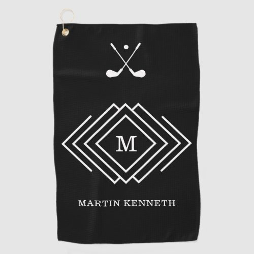 Personalized Mens Black And White Monogram Golf Towel