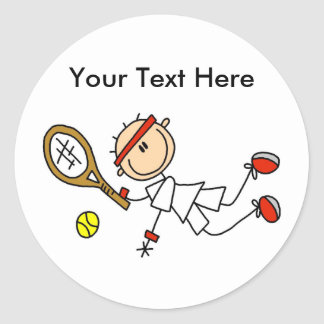 Personalized Men's Tennis Gifts Round Stickers