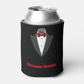 Personalized Men's Tuxedo Shirt Groom Can Cooler