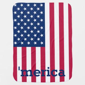 Personalized 'merica Patriotic American Flag Receiving Blanket