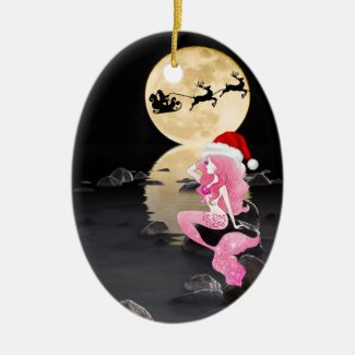 Personalized Mermaid and Santa Hat Merry Christmas Ceramic Ornament