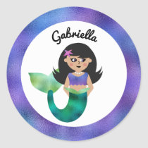 Personalized Mermaid Latino Trendy Faux Foil Girls Classic Round Sticker