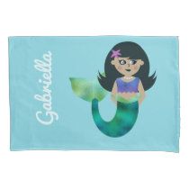 Personalized Mermaid Latino Trendy Faux Foil Girls Pillow Case