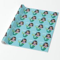 Personalized Mermaid Latino Trendy Faux Foil Girls Wrapping Paper