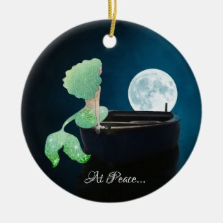 Personalized Mermaid on Boat, At Peace, Full Moon Ceramic Ornament