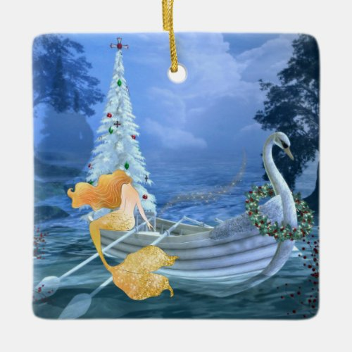 Personalized Mermaid, Swan Boat and Christmas Tree Ceramic Ornament